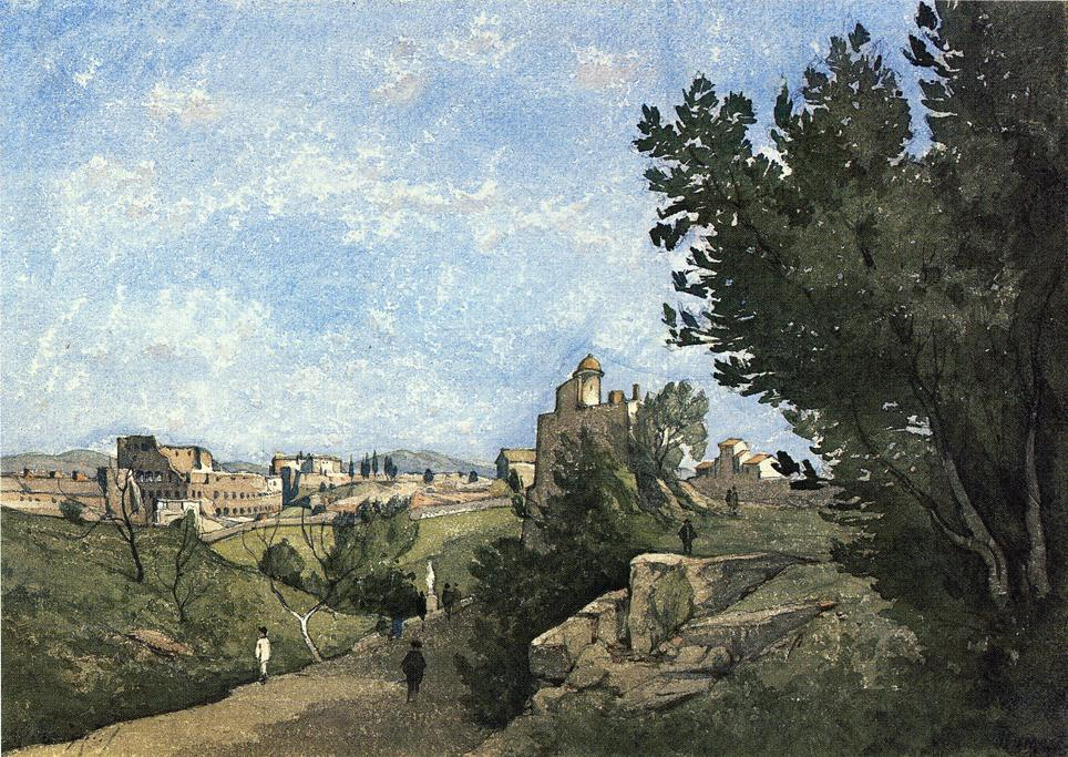 Вид Villa d Este по Henri-Joseph Harpignies (1819-1916, France)