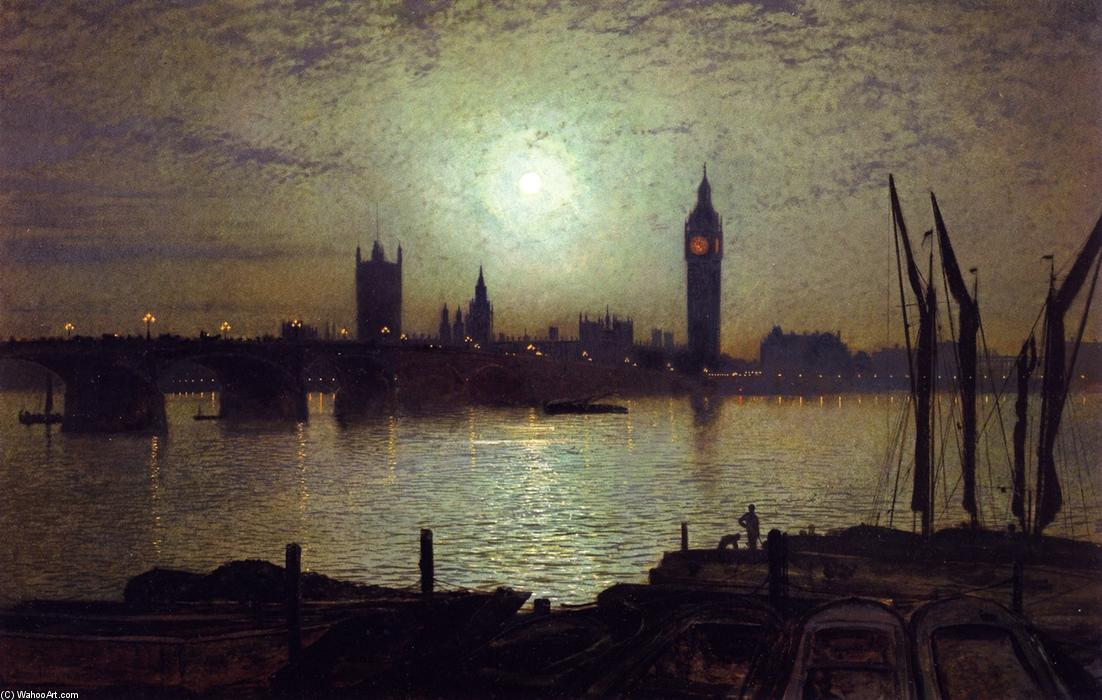 Вестминстерского Мост  около  Лунный свет , Масло на панели по John Atkinson Grimshaw (1836-1893, United Kingdom)