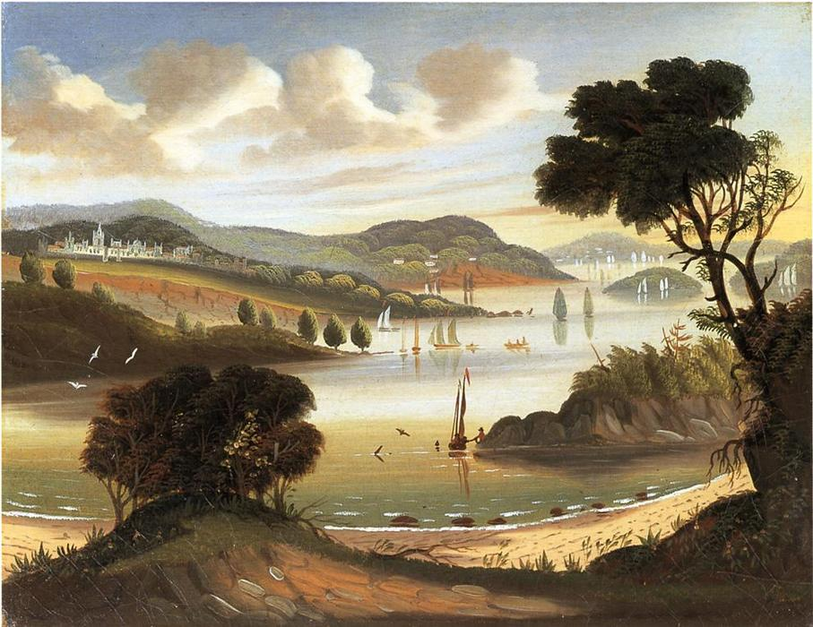 West Point on в Hudson Река, холст, масло по Thomas Chambers (1808-1869)