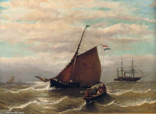 Гребля назад Launch по Louis Meijer (1809-1866, Netherlands)