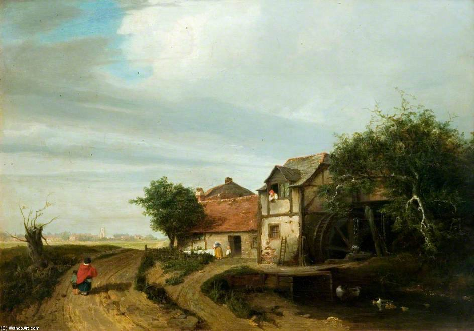 пейзаж с коттедж и а Water-wheel по Patrick Nasmyth (1787-1831, United Kingdom)