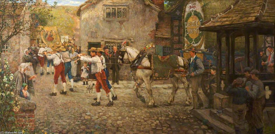 Rushbearing В Миддлтон, Рочдейл, Ланкашир по Frederick William Jackson (1859-1918, United Kingdom)