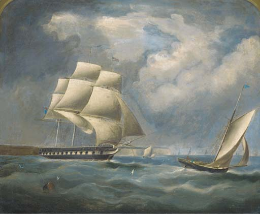 Фрегат при пониженном Рог в канале по Thomas Buttersworth (1768-1842, United Kingdom)