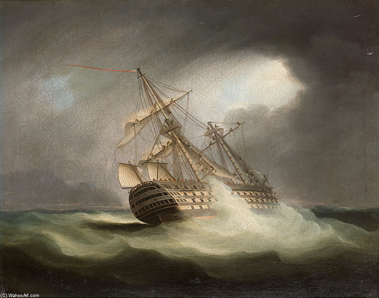 HMS 'Победа' на всех парусах А в Squall по Thomas Buttersworth (1768-1842, United Kingdom)