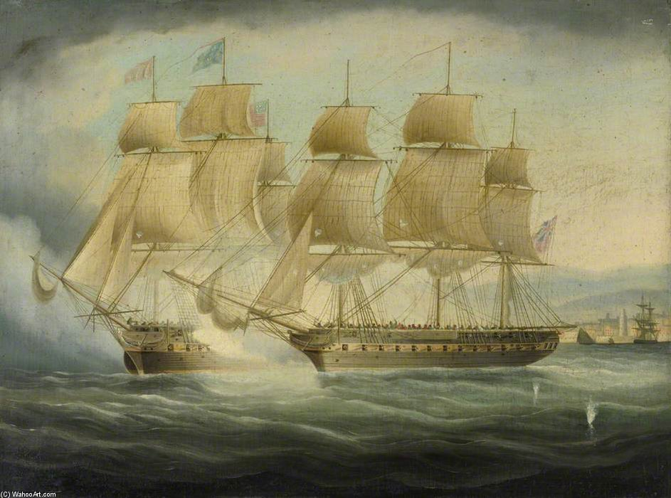 ТМ 'Шеннон' Принимая 'Chesapeake' USS по Thomas Buttersworth (1768-1842, United Kingdom)