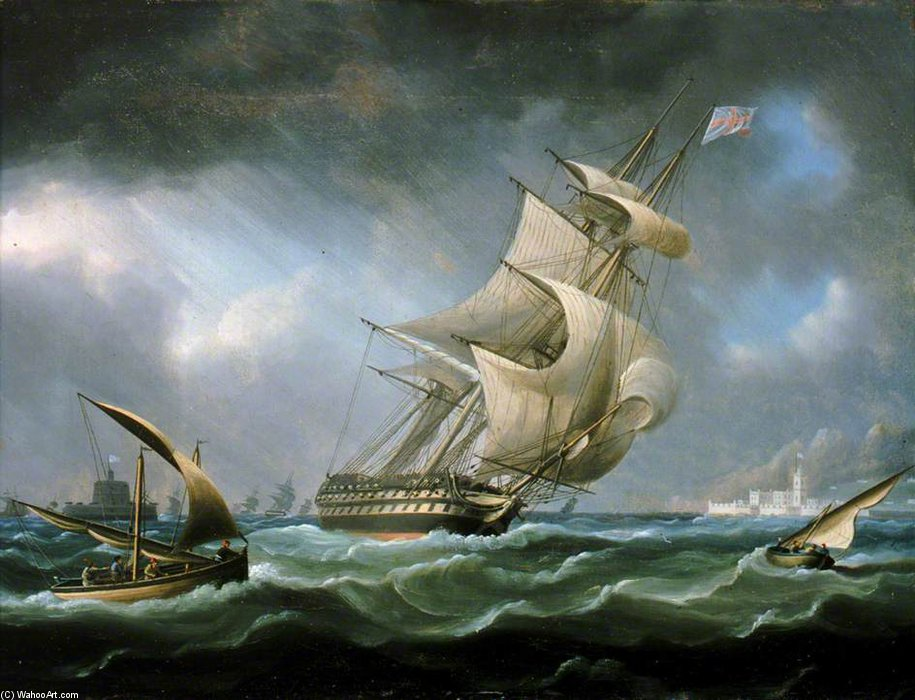 HMS Warrior от устья реки Тежу по Thomas Buttersworth (1768-1842, United Kingdom)