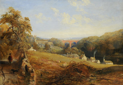 Wetheral - вид на Река эден показаны wetheral по Samuel Bough (1822-1878, United Kingdom)