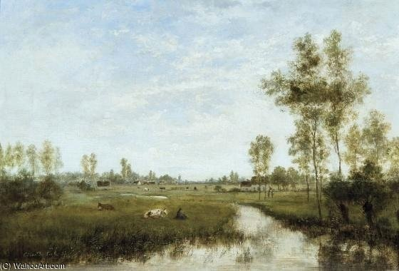 Summerscape С пастушок по Cesar De Cock (1823-1904, Belgium)