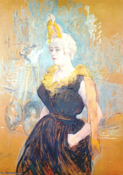 clownesse ча-у-Као, 1895 по Henri De Toulouse Lautrec (1864-1901, Second French Empire)