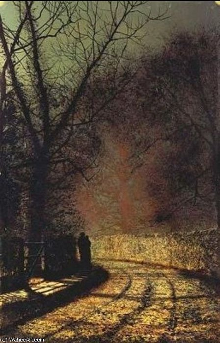 любовники по John Atkinson Grimshaw (1836-1893, United Kingdom)