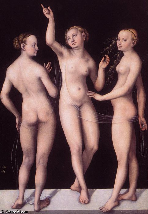 Три грации по Lucas Cranach The Elder (1472-1553, Germany)