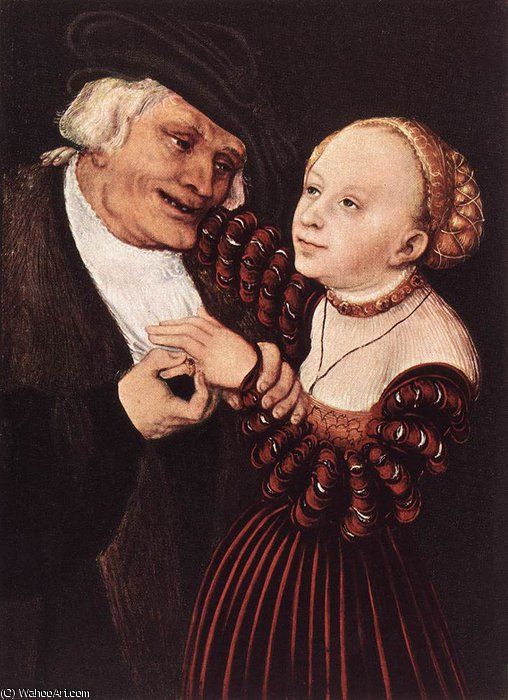 Старик а также  молодой  Женщина  по Lucas Cranach The Elder (1472-1553, Germany)