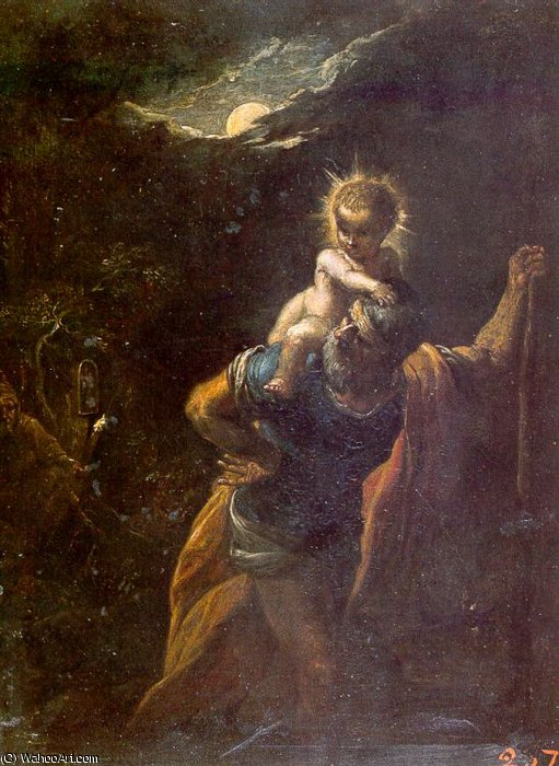 Санкт-Кристофер по Adam Elsheimer (1578-1610, Germany)