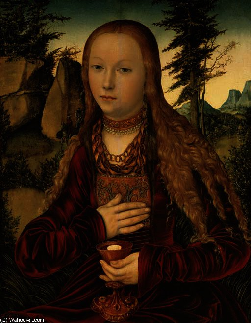 Санкт-Барбара в     лесистый  ПЕЙЗАЖ  по Lucas Cranach The Elder (1472-1553, Germany)