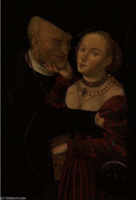 Ill-matched любовники по Lucas Cranach The Elder (1472-1553, Germany)