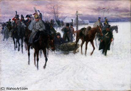 Napoleon's Войска Отступающий из москвы по Jan Van Chelminski (1851-1925, Poland)