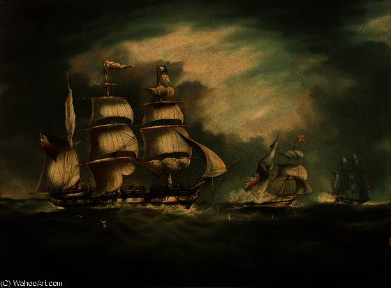 HMS Belle Poule, HMS Hermes, и Цыган по Thomas Buttersworth (1768-1842, United Kingdom)
