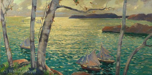 С берега Rockport по Jonas Lie (1833-1908, Norway)