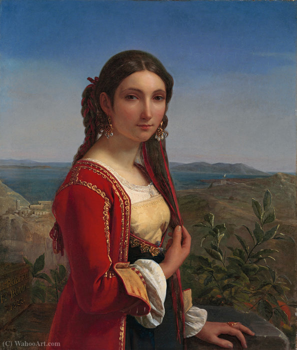 Портрет молодой женщины Retuna по Louis Léopold Robert (1794-1835, Switzerland)