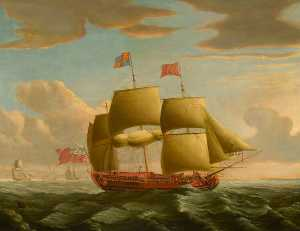 John Cleveley The Elder - HMY -Royal Caroline- в Тугой Ветер